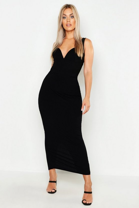 Black Plus Rib Column Maxi Skirt