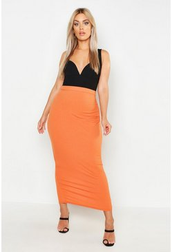 Womens Terracotta Plus Rib Column Maxi Skirt