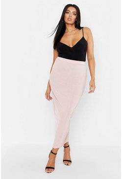 Womens Blush Plus Slinky Column Maxi Skirt