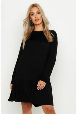 Womens Black Plus Drop Hem Crew Neck Jersey Smock Dress