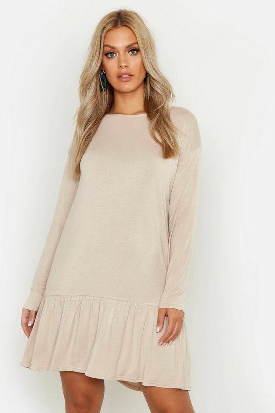 Stone Plus Drop Hem Crew Neck Jersey Smock Dress