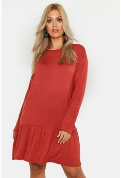 Terracotta Plus Drop Hem Crew Neck Jersey Smock Dress