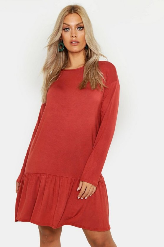 Womens Terracotta Plus Drop Hem Crew Neck Jersey Smock Dress