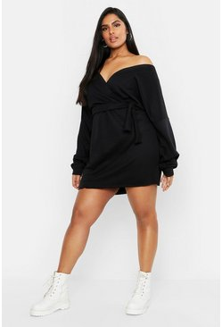 Womens Black Plus Loopback Wrap Sweat Dress
