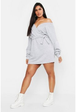 Womens Grey Plus Loopback Wrap Sweat Dress