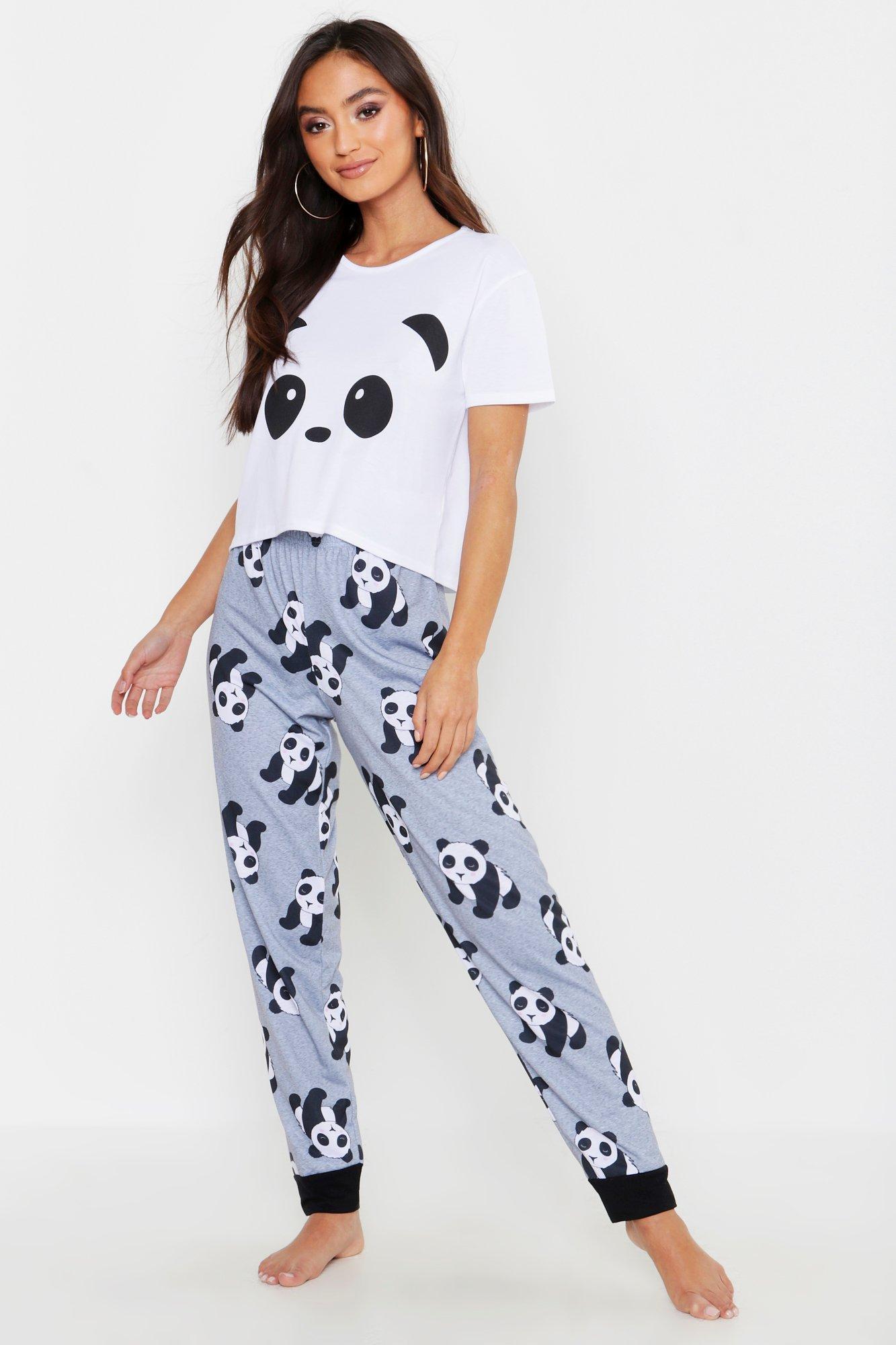 Petite Panda Printed PJ Trouser Set