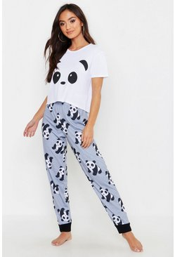 Womens Grey Petite Panda Printed PJ Trouser Set