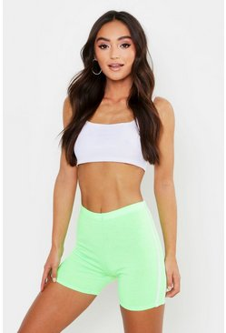Womens Neon-green Petite Double Side Stripe Cycling Shorts