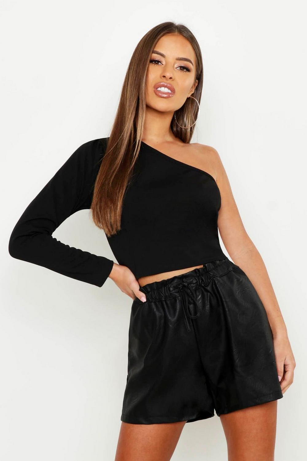 42c2e18651b Womens Black Petite One Shoulder Long Sleeve Crop Top. Hover to zoom