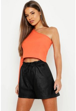 Womens Orange Petite One Shoulder Long Sleeve Crop Top