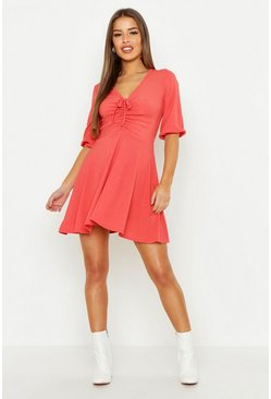 Womens Terracotta Petite Gathered Tie Front Volume Sleeve Skater Dress