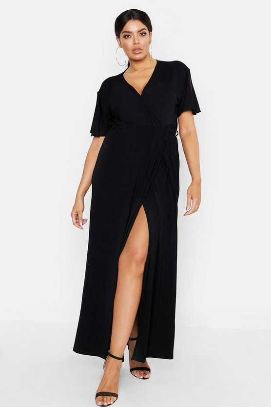 Black Plus Kimono Sleeve Wrap Maxi Dress