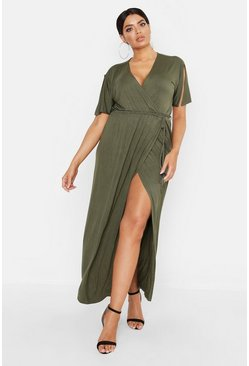 Womens Khaki Plus Kimono Sleeve Wrap Maxi Dress