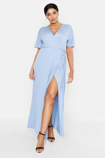 Sky Plus Kimono Sleeve Wrap Maxi Dress
