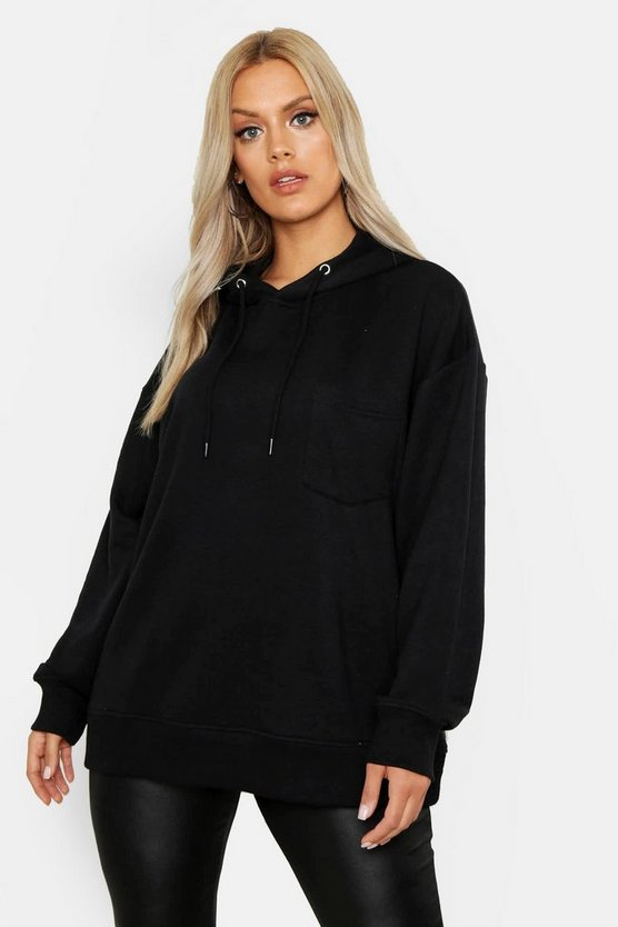 Womens Black Plus Basic Hoody With Pocket Detail
