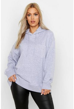 Womens Grey Plus Basic Hoody With Pocket Detail