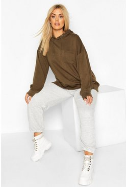 Khaki Plus Basic Hoody With Pocket Detail