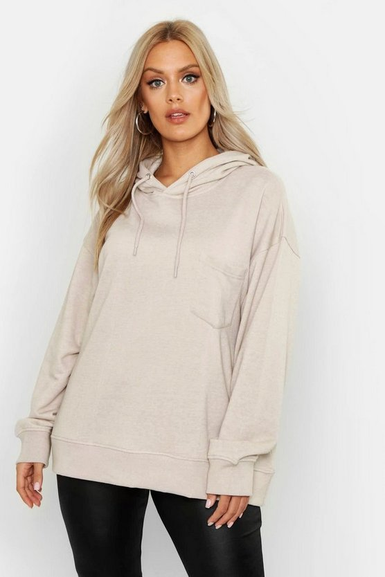 Oatmeal Plus Basic Hoody With Pocket Detail