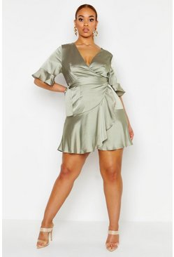 Sage Plus Satin Wrap Ruffle Skater Dress
