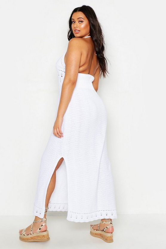 Plus Crochet Halter Neck Maxi Dress