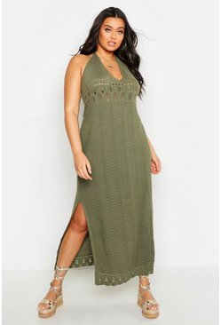 Womens Khaki Plus Crochet Halter Neck Maxi Dress