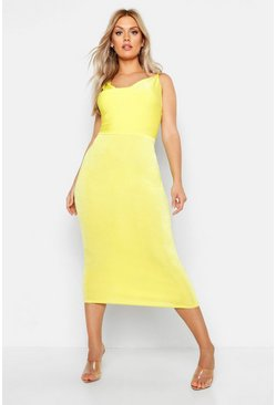 Womens Chartreuse Plus Cowl Neck Asymmetric Midi Dress