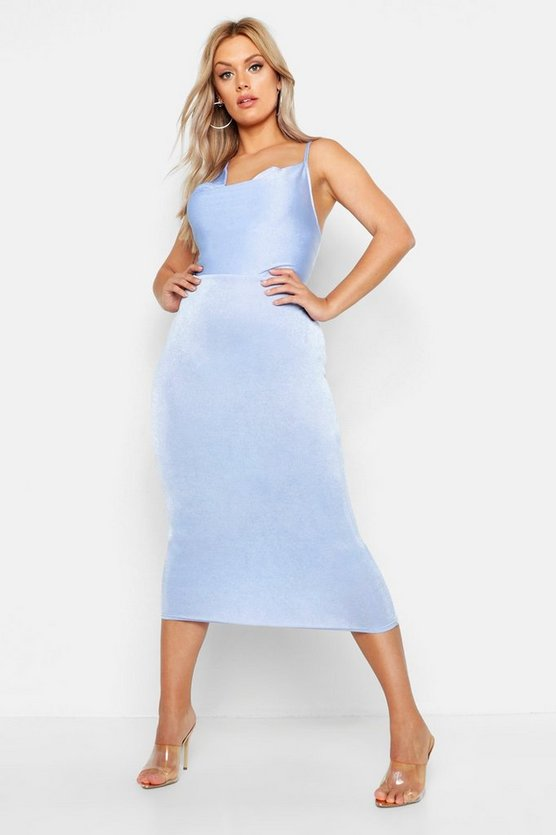 Womens Sky Plus Cowl Neck Asymmetric Midi Dress
