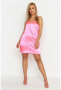 Womens Pink Plus Satin Mini Dress
