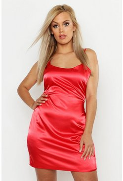Womens Red Plus Satin Mini Dress