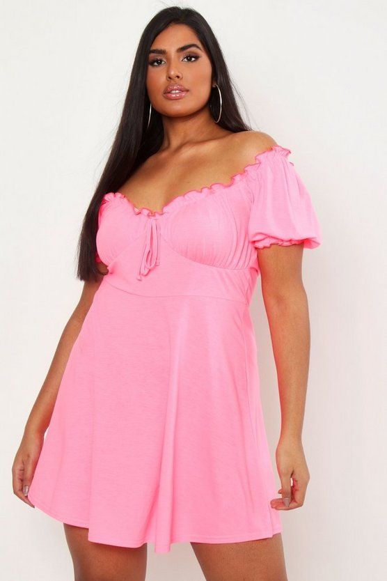 Womens Coral Plus Ruched Detail Skater Dress