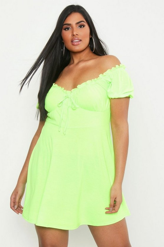 Womens Neon-lime Plus Ruched Detail Skater Dress