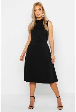 Womens Black Plus High Neck Asymmetric Midi Skater Dress