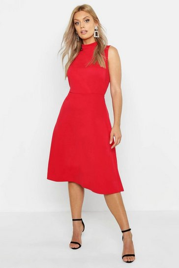 Red Plus High Neck Asymmetric Midi Skater Dress