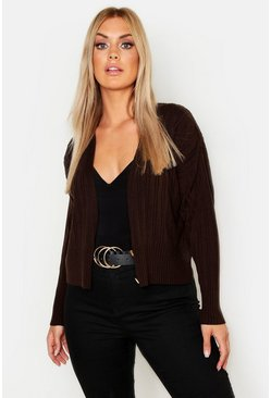 Womens Mocha Plus Button Rib Cardigan