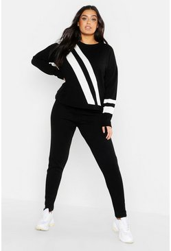 Womens Black Plus Chevron Stripe Knit Lounge Set