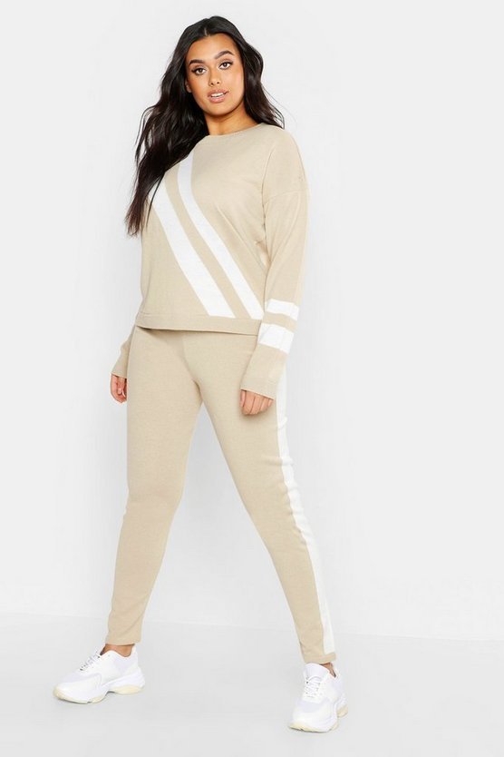 Womens Camel Plus Chevron Stripe Knit Lounge Set