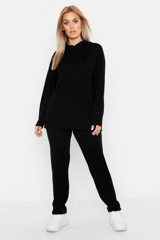Black Plus Knitted Hooded Lounge Set