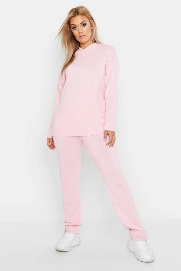Womens Blush Plus Knitted Hooded Lounge Set