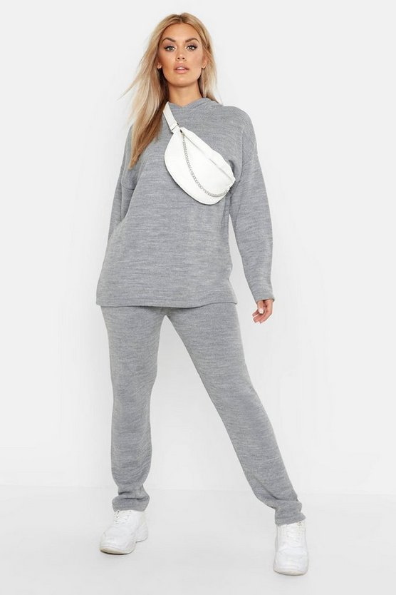 Plus Knitted Hooded Lounge Set
