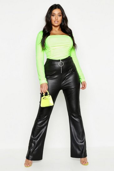 Womens Black Plus Leather Look Wide Leg Trouser