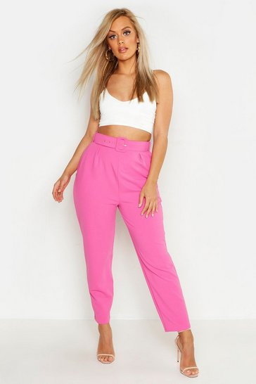 Womens Bright pink Plus Belted Slim Leg Tapered Trouser