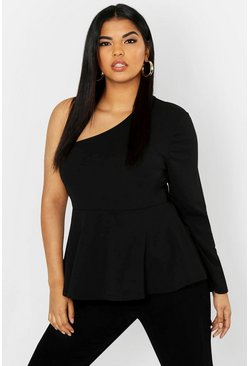 Womens Black Plus One Shoulder Peplum Top
