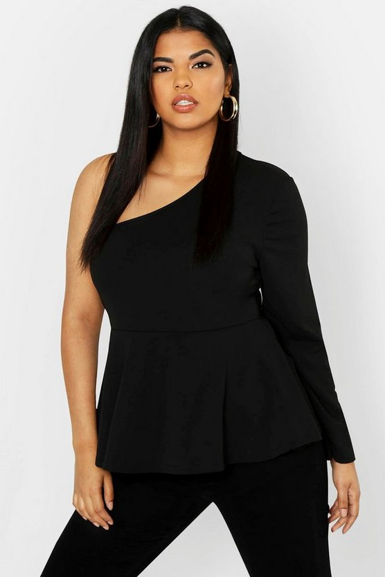 Plus One Shoulder Peplum Top