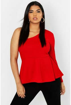 Womens Red Plus One Shoulder Peplum Top