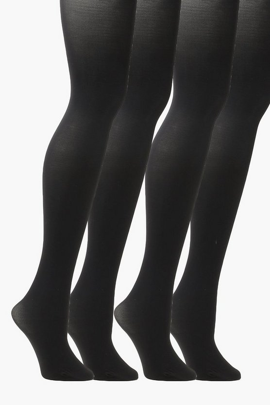 Plus 2 Pack 60 Denier Tights, Black, Donna