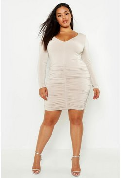 Womens Stone Plus Plunge Ruched Slinky Bodycon Dress