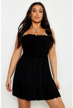 Womens Black Plus Sheering Bandeau Beach Skater Dress