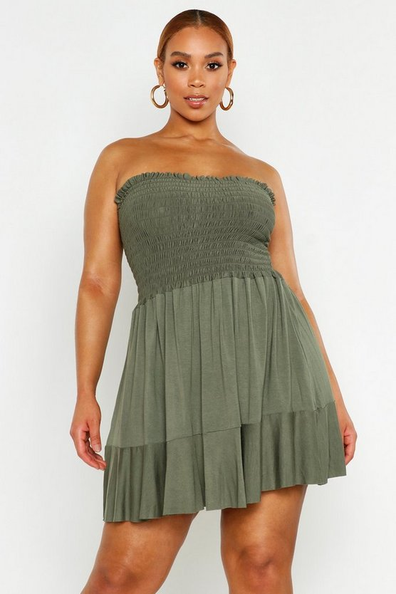 Plus Sheering Bandeau Beach Skater Dress, Khaki, Donna