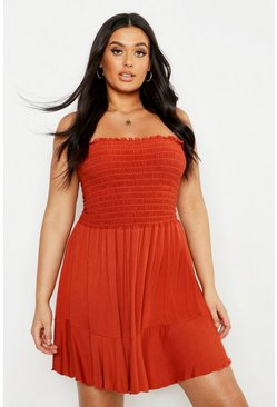 Terracotta Plus Shirring Bandeau Beach Skater Dress