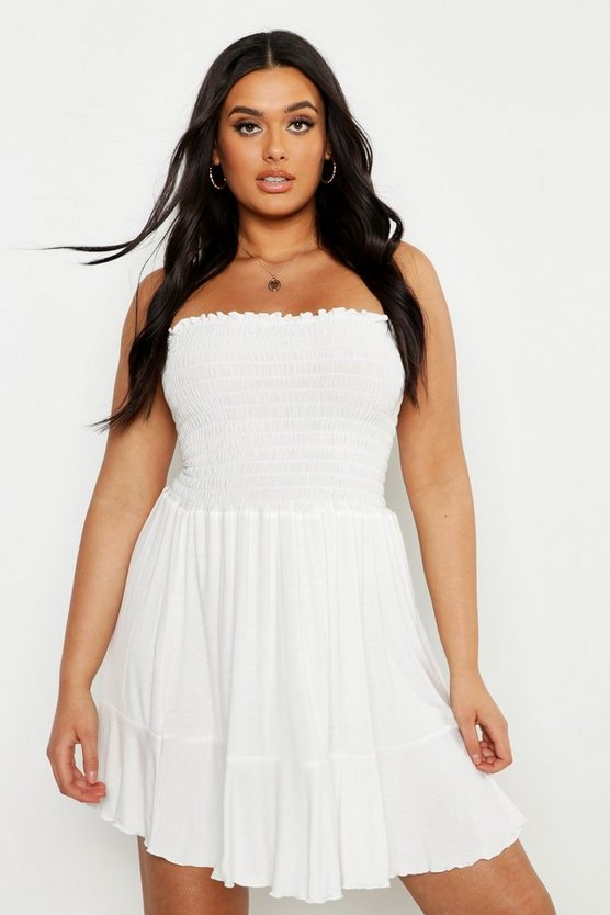 White Plus Sheering Bandeau Beach Skater Dress